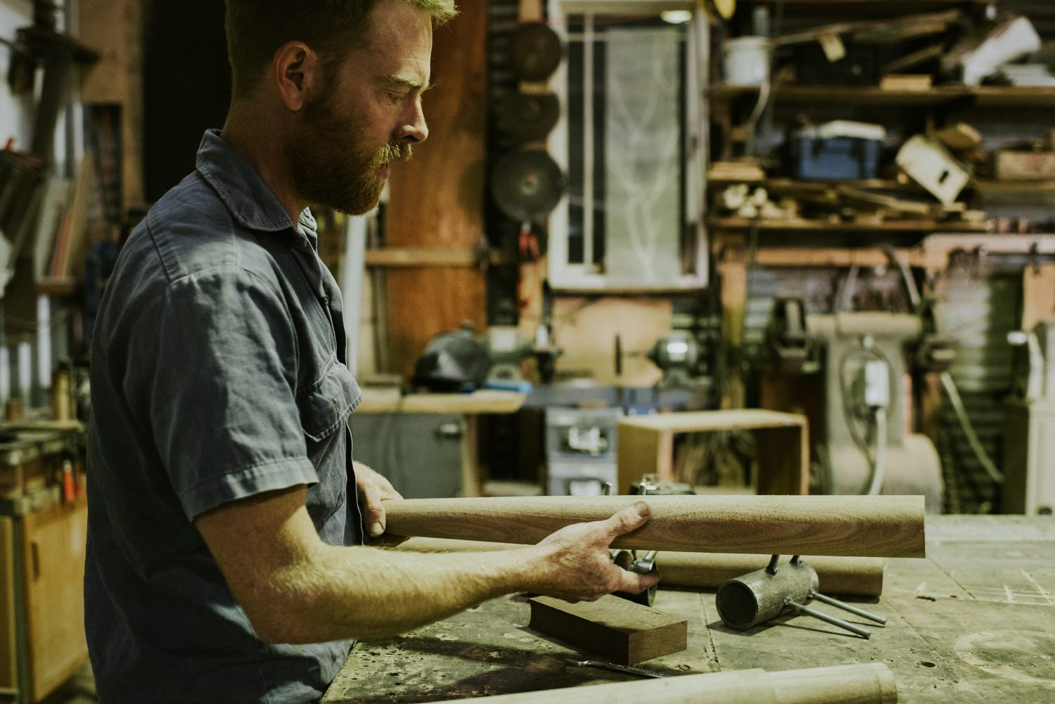 Michael Hoffman working in his Blue Mountains studio