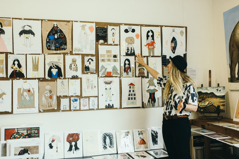 Emma Magenta illustrator in her studio