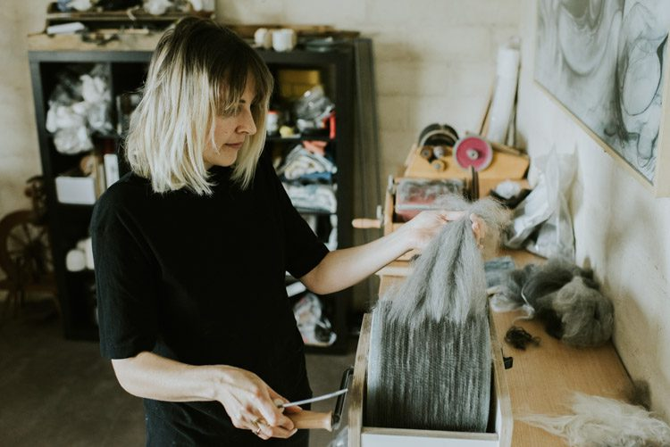 Grace Wood working with felt in Woodford