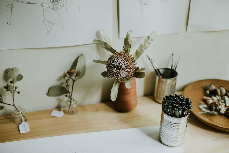 Illustrator Edith Rewa artworks in her Blackeath studio