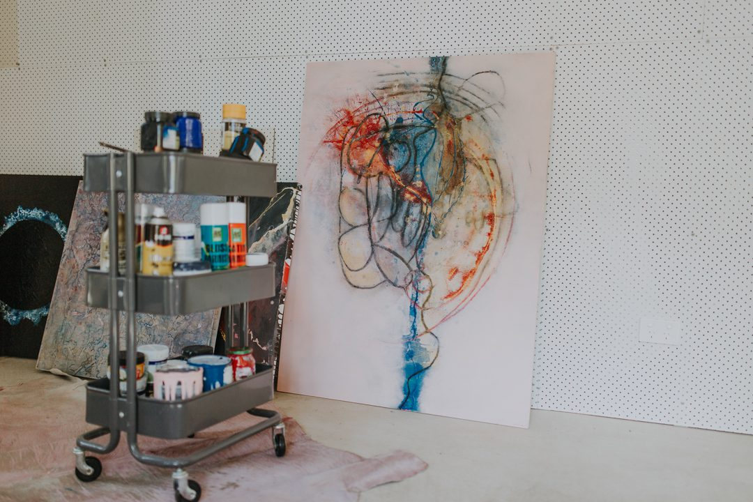 Harold David artwork in his studio