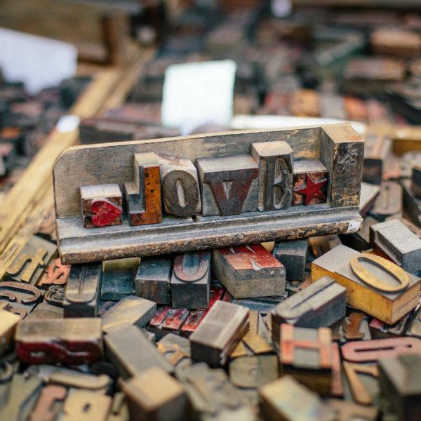 Letter stamps for antique letterpress
