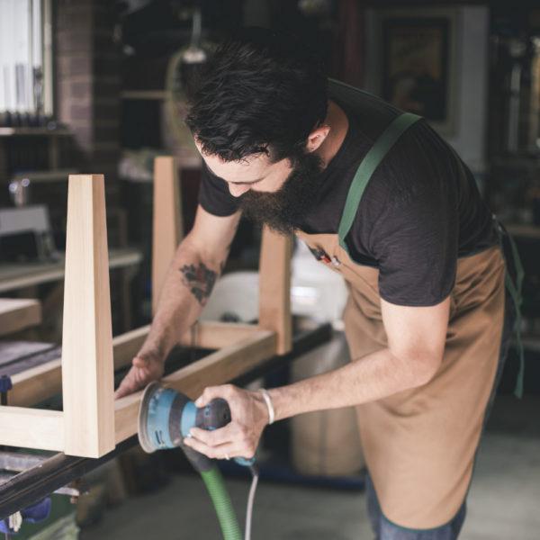 Artisan woodworker at work